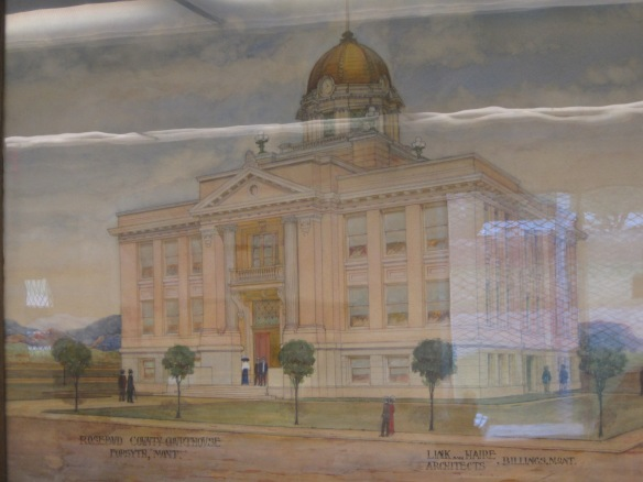 Link and Haire's original rendering of the courthouse is displayed at the Rosebud County Museum.