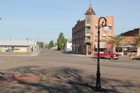 From the depot, looking northwest, the Hotel Becker, also in the National Register, is the town's most recognized landmark from its first decade of development.