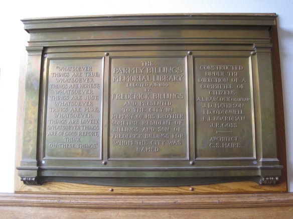 Dedication plaque at Parmly Billings Library (now Western Heritage Center), Billings