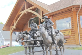 Dillon, cowboy sculpture at chamber of commerce