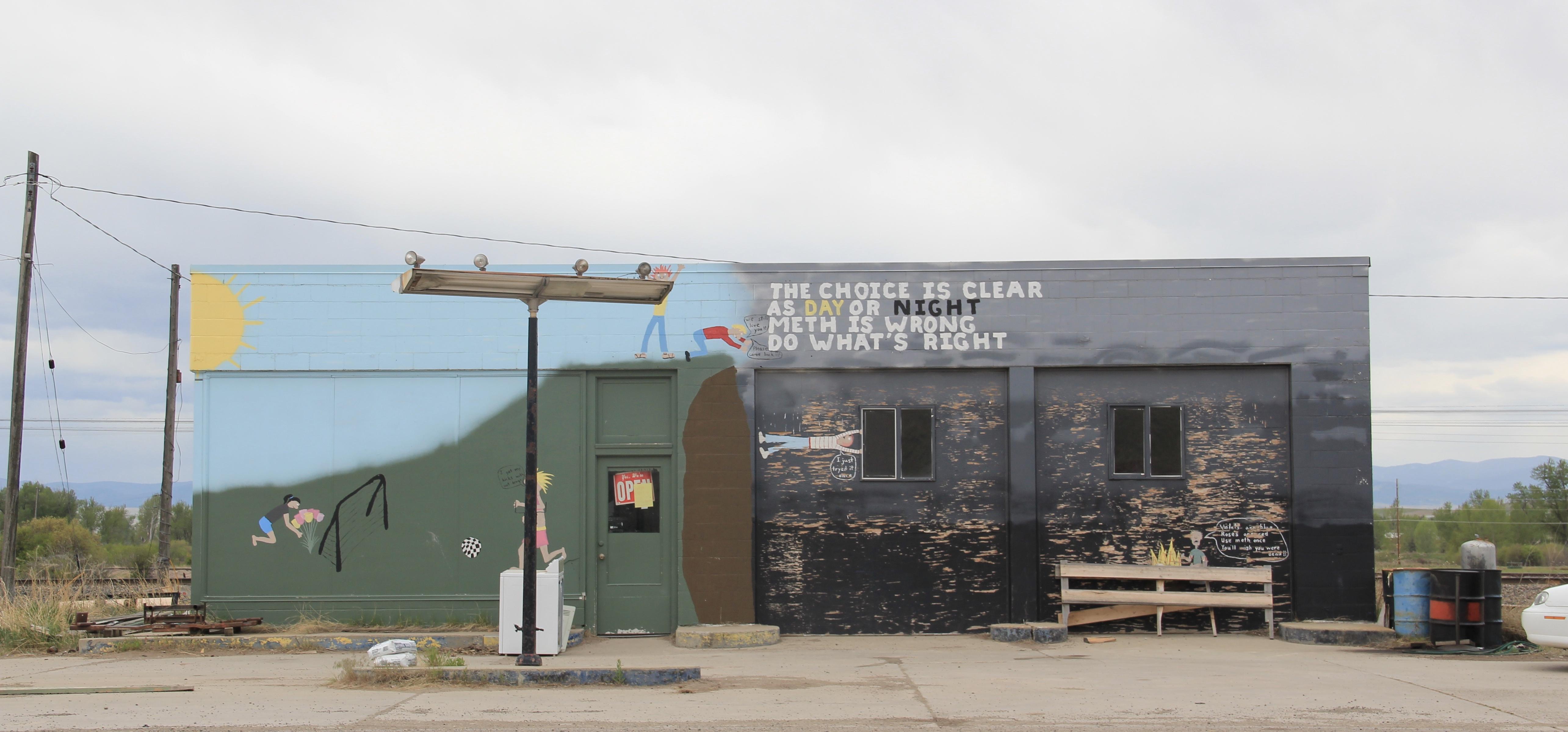 Granite Co, Drummond gas station, Front St, meth mural, roadside