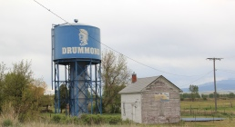 Granite Co, Drummond water tank and RR building