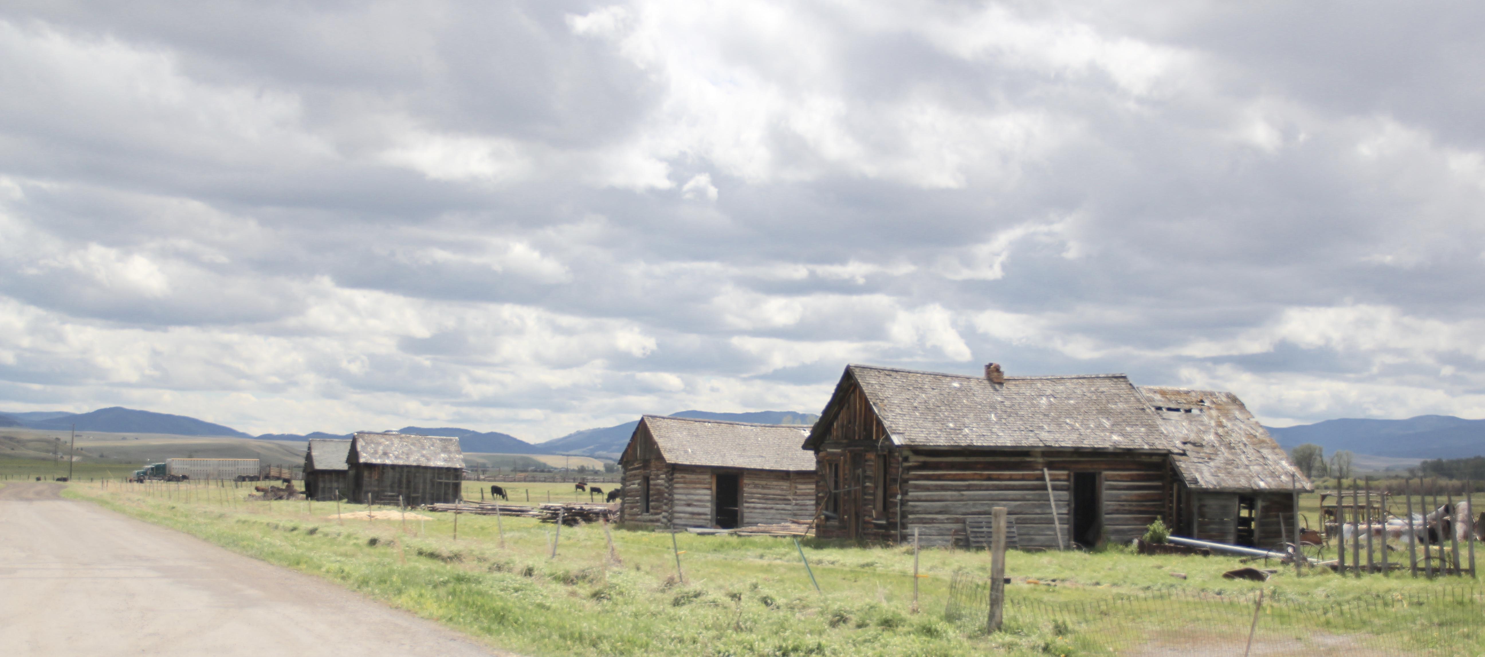 Log buildings at ranch off Mullan Road, s of Drummond, Granite Co
