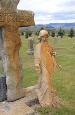 Annie Milroy angel, Valley Cemetery, Mullan Road, Granite Co