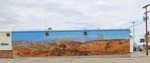 Glacier Co Cut Bank buffalo and indians mural rural