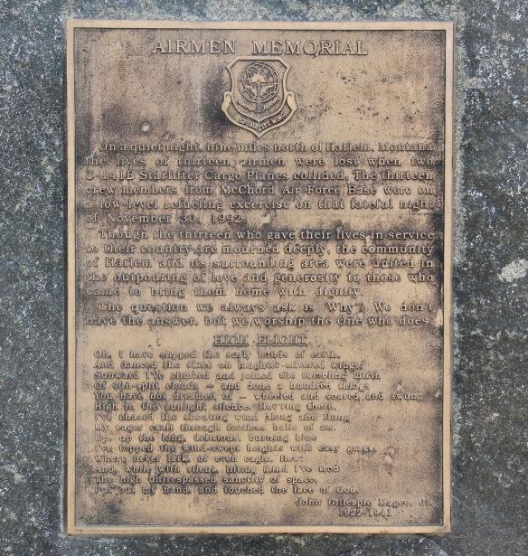 Blaine Co Harlem air pilot memorial detail