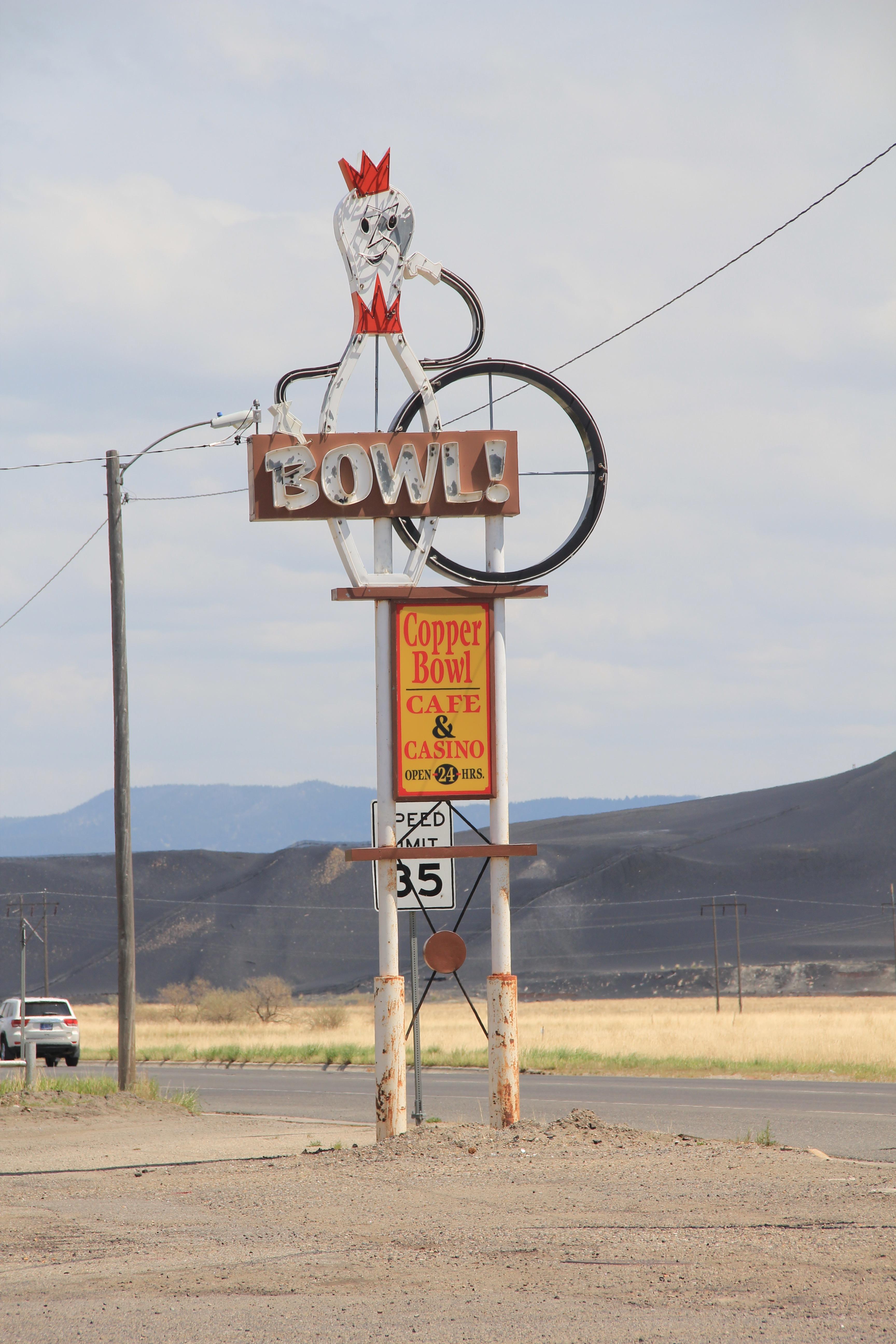 Copper Bowl sign, E. Park, Anaconda roadside