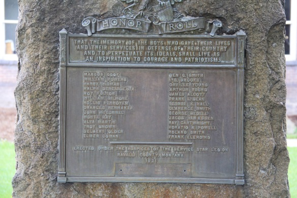 WWI monument text, historic courthouse, Hamilton