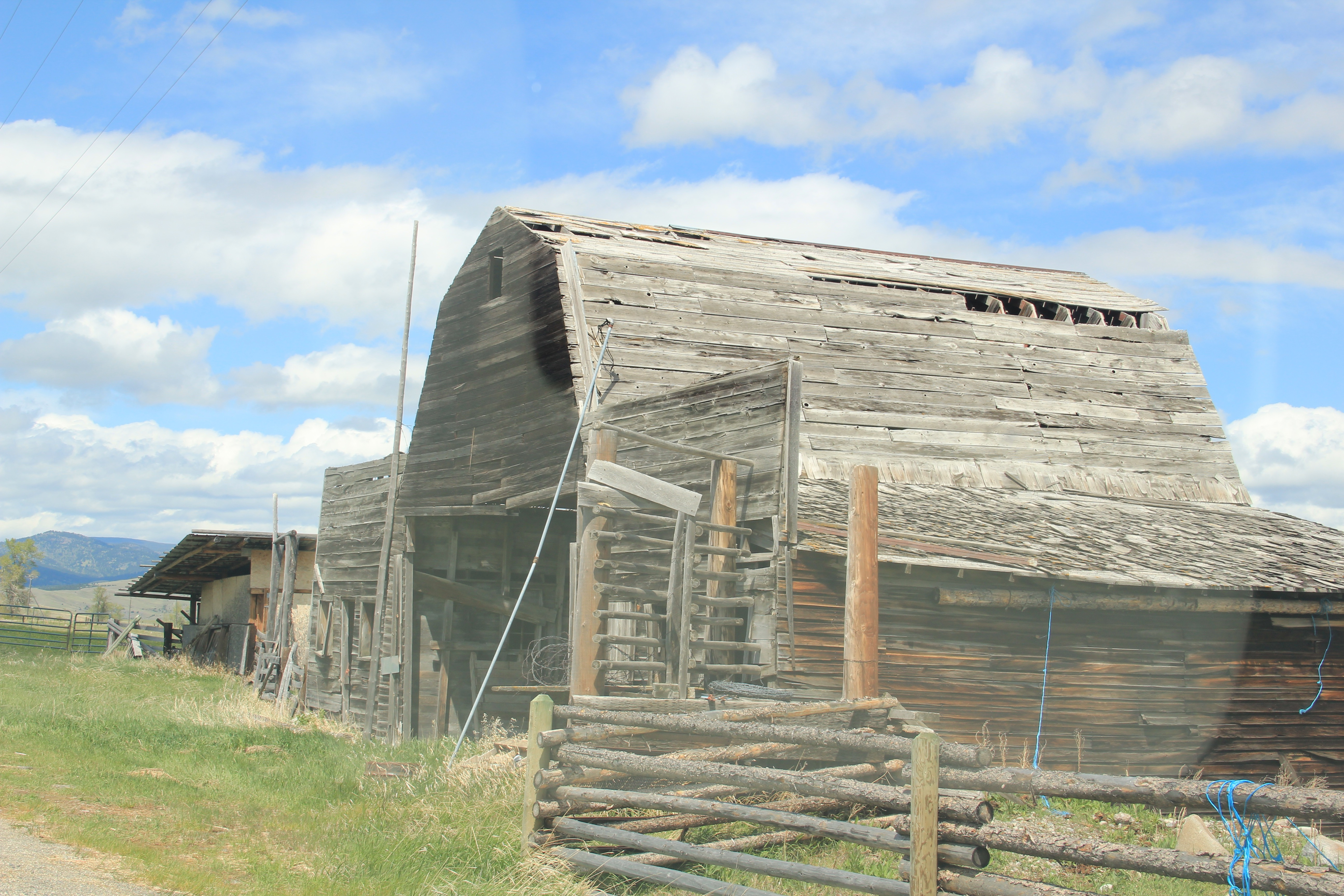 Old buildings grafted into barn, E of Pioneer, Powell Co