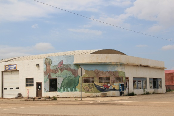 Garfield Co Jordan gas station MT 200 deco dinosaur mural